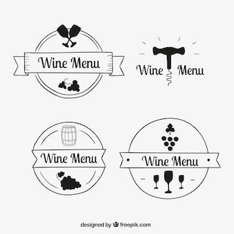 Confezione di disegnati a mano logoypes vino