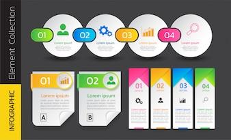 Confezione di disegno del modello colorato infografica