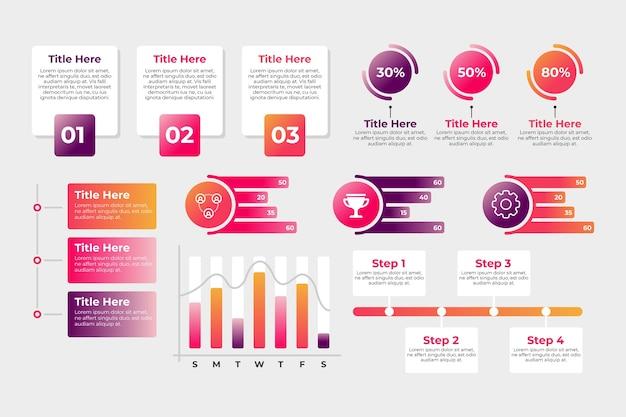 Confezione di diversi elementi infografici