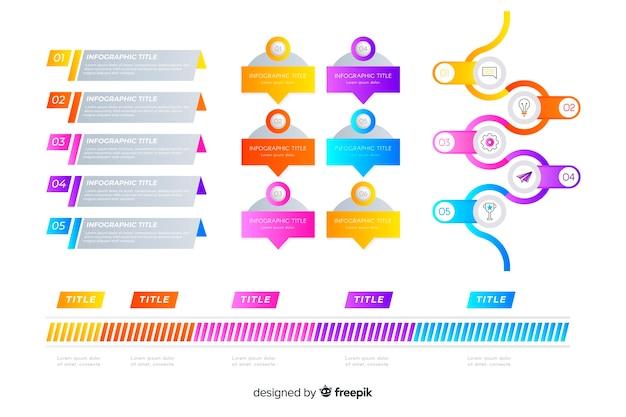 Confezione di elementi colorati infografica
