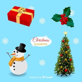 Confezione di elementi di decorazione natalizia realistica