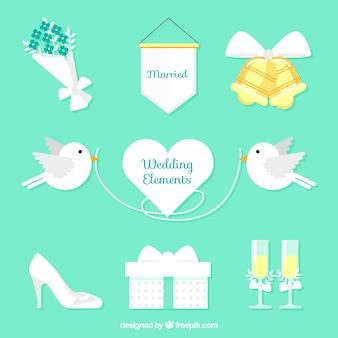 Confezione di elementi di nozze bianchi con dettagli di colore