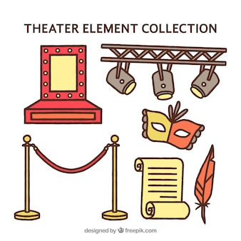 Confezione di elementi disegnati a mano di teatro