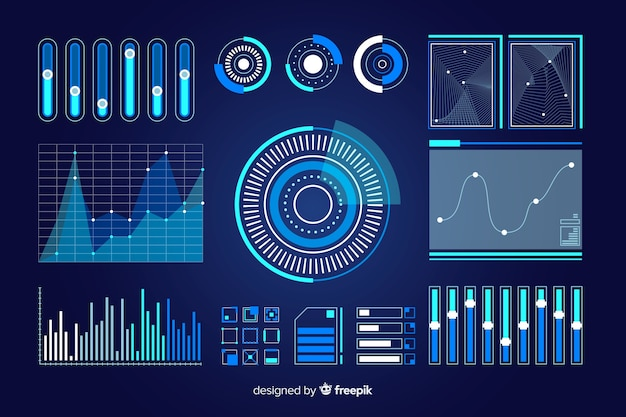 Confezione di elementi futuristici di infografica