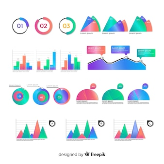 Confezione di elementi infographic colorati
