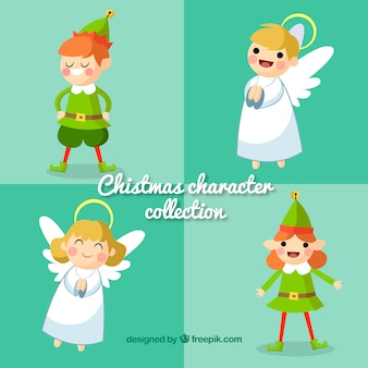 Confezione di elfi e angeli di natale