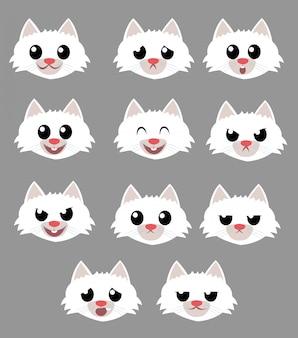 Confezione di emozioni di faccia di gatto