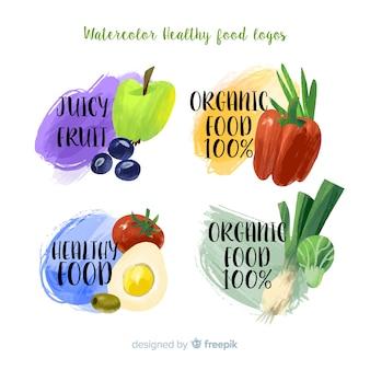Confezione di etichetta di cibo sano colorato dell'acquerello