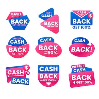 Confezione di etichette di cashback creative