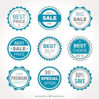 Confezione di etichette di vendita blu e grigio