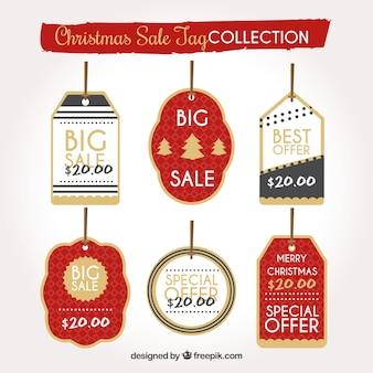 Confezione di etichette di vendita natalizie