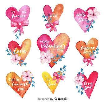 Confezione di etichette san valentino cuori acquerello