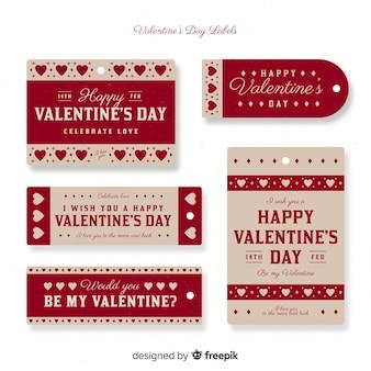 Confezione di etichette vintage di san valentino