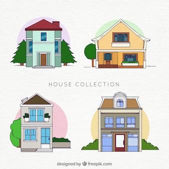 Confezione di facciate di case disegnate a mano