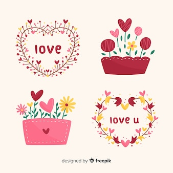 Confezione di fiori di san valentino disegnati a mano