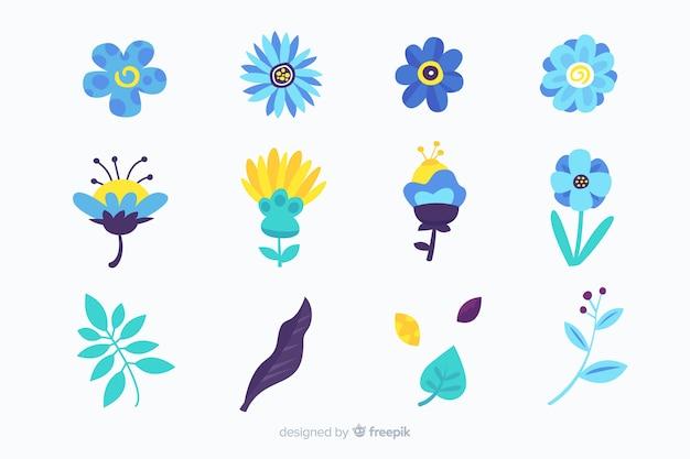 Confezione di fiori e foglie disegnati a mano