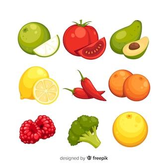 Confezione di frutta e verdura disegnata a mano colorata
