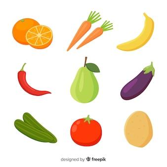 Confezione di frutta e verdura disegnata a mano