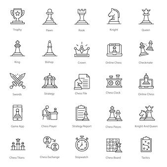 Confezione di icona linea di scacchi