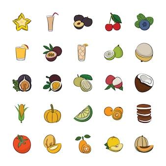 Confezione di icone alimentari disegnate a mano