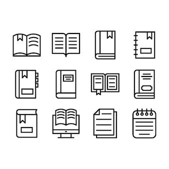 Confezione di icone linea libro