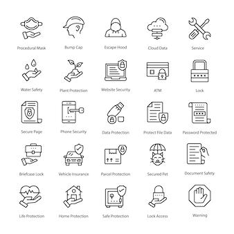 Confezione di icone vettoriali linea di protezione