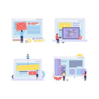 Confezione di illustrazione di web builder