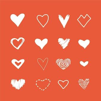 Confezione di illustrazioni di cuore disegnati a mano