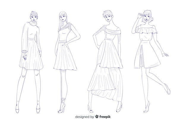 Confezione di illustrazioni di moda disegnati a mano design