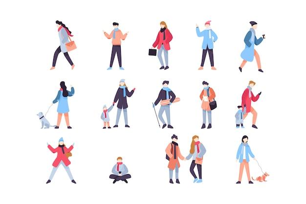 Confezione di illustrazioni di persone invernali