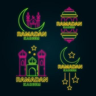 Confezione di insegne al neon ramadan