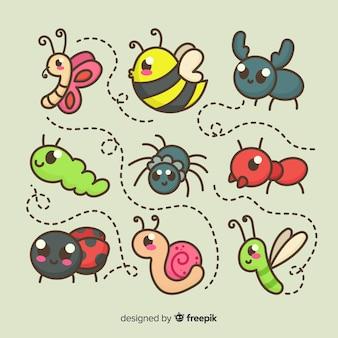 Confezione di insetti simpatico cartone animato
