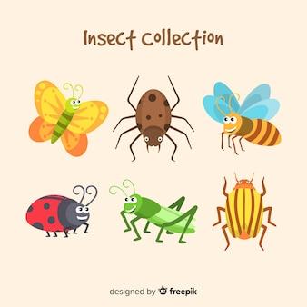 Confezione di insetto disegnato a mano sveglio