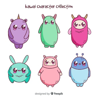 Confezione di kawaii di creature disegnate a mano