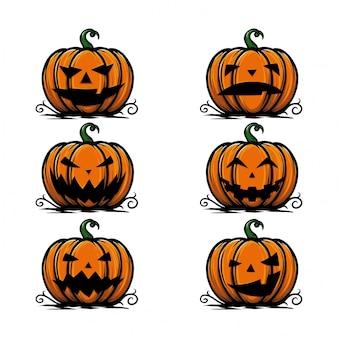 Confezione di lanterna di zucca di halloween con molte espressioni