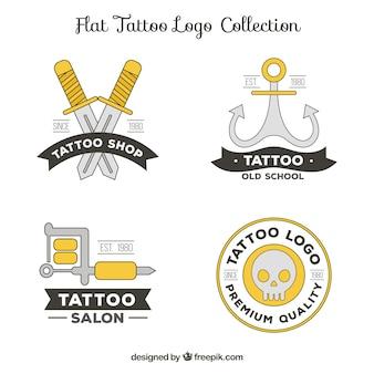 Confezione di loghi di tatuaggi in stile lineare