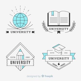 Confezione di loghi universitari in stile piatto