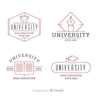 Confezione di loghi universitari piatti