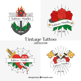 Confezione di loghi vintage di tatuaggi disegnati a mano