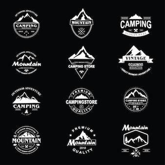 Confezione di logo vintage di montagna
