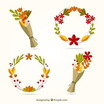 Confezione di mazzi di fiori e corone autunno disegnati a mano