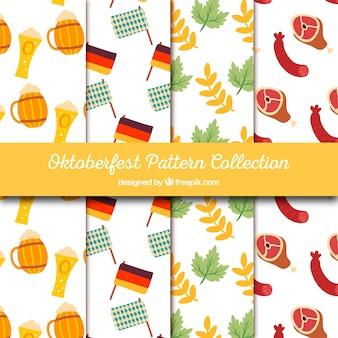 Confezione di modelli con elementi di oktoberfest disegnati a mano