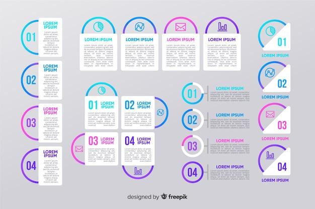Confezione di modello di passaggi di marketing infografica