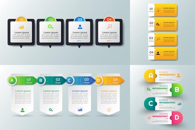 Confezione di modello di progettazione infografica.