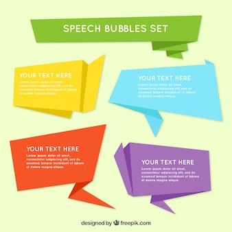 Confezione di moderna discorso origami bolle