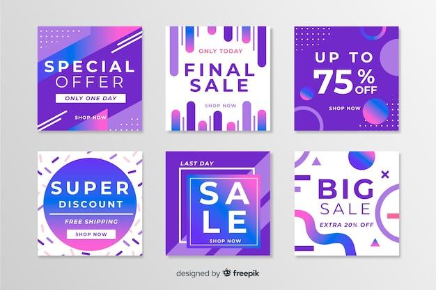 Confezione di moderni banner di vendita per i social media
