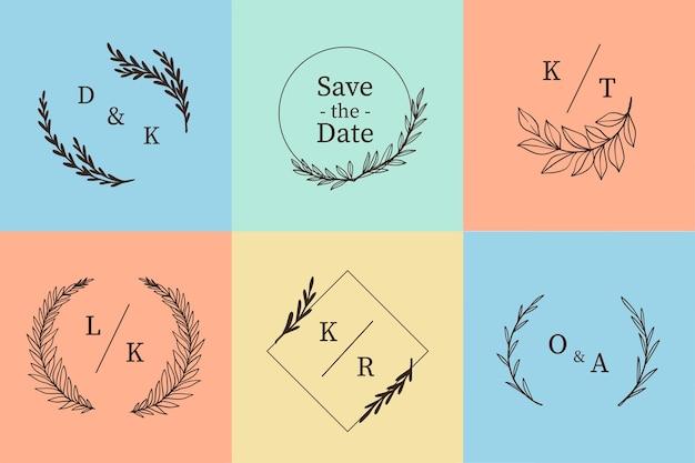 Confezione di monogrammi colorati di nozze