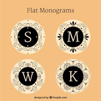 Confezione di monogrammi eleganti in design piatto