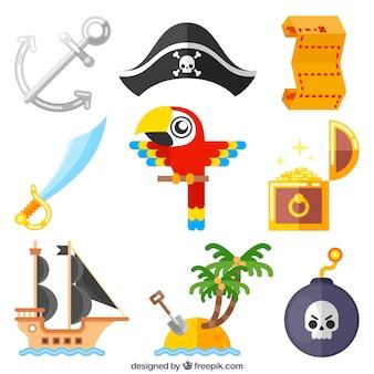 Confezione di pappagallo e elementi di avventura pirata in design piatto