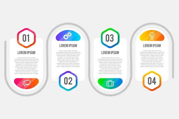 Confezione di passaggi infographic gradiente